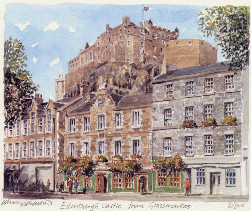 Edinburgh Castle from Grassmarket by Philip Martin
