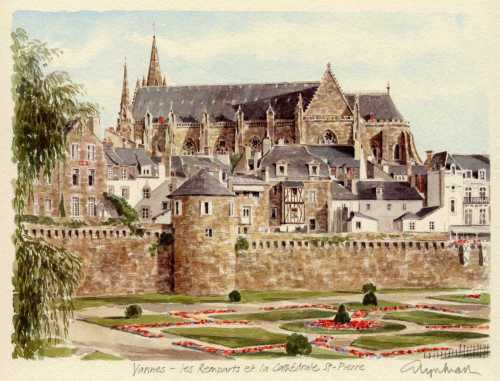 Vannes - les remparts et Cath. by Glyn Martin