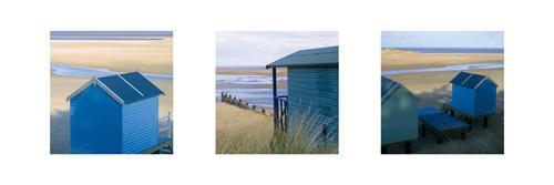 Beach Hut Triptych by Bill Philip