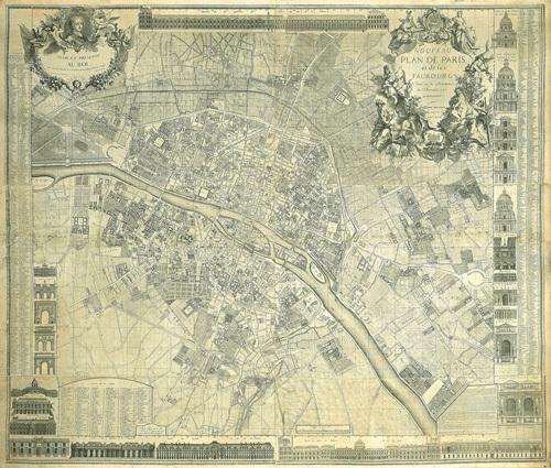 Nouveau Plan De Paris 1728 by J. Delagrive