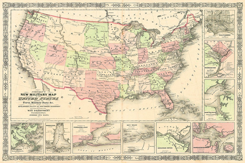 New Military Map of the United States 1861 by Johnson