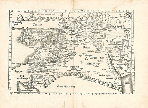 Ptolemaic Map of the Middle East by Ptolemy Claudius Ptolemaeus of Alexandriac
