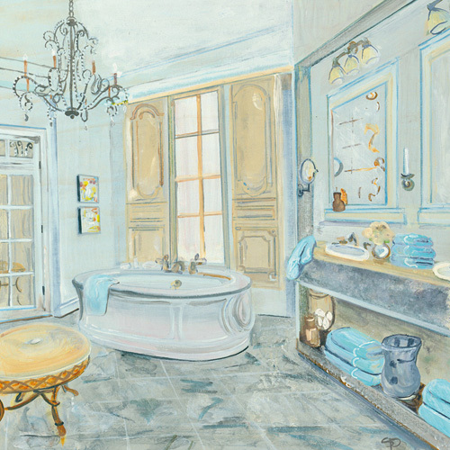 salle de bain ii art print by colleen karis at king mcgaw. Black Bedroom Furniture Sets. Home Design Ideas
