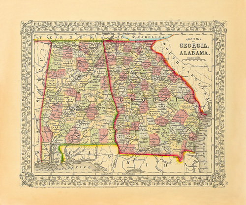 County Map of Georgia and Alabama by S. A. Mitchell