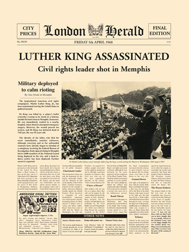 Luther King Assassinated by London Herald
