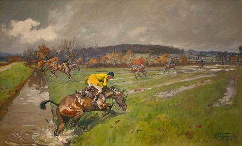 Huntsmen Crossing a Brook by Lionel Edwards