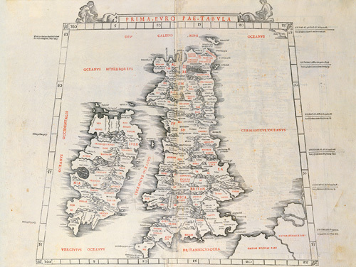Prima Europae Tabula 1511 by Ptolemy Claudius Ptolemaeus of Alexandriac