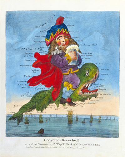 Geography Bewitched! or a Droll Caricature Map of England and Wales c1793 by Thomas Bowles