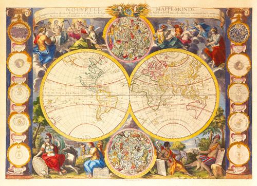 Nouvelle Mappe-Monde  c1750 by Gaspar Bailleul