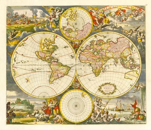 Nova Totius Terrarum Orbis Tabula 1668 by De Witt