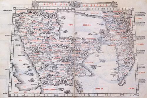 Sexta Asiae Tabula 1511 by Ptolemy Claudius Ptolemaeus of Alexandriac