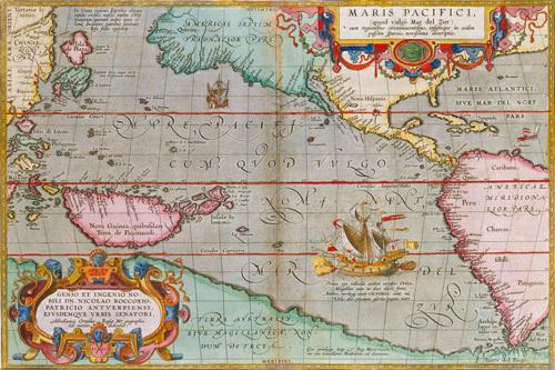 Maris Pacifici 1590 by Abraham Ortelius