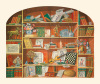 Trompe L'Oeil of a Bookcase Including Artistic Artefacts by Anonymous