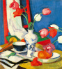 Tulips and Fruit by Samuel John Peploe