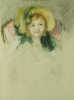 Sara In A Bonnet With A Plum Hanging Down At Left (No. 1) by Mary Cassatt