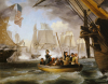 Commodore Perry Leaving The Lawrence For The Niagara At The Battle Of Lake Erie by Thomas Birch