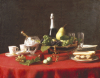 A Bowl Of Fruit And A Bottle Of Champagne by Jules Larcher