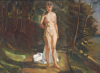 A Bather In A Wooded Landscape by Wilhelm Trubner