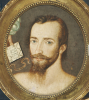 Portrait Of A Gentleman With Hand Offering His Horoscope by Sir William Segar