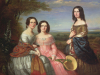 Group portrait of three girls in a landscape, 1849 by William Baker