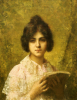 Young Woman Holding A Book (1842-1922) by Alexei Alexeiewitsch Harlamoff
