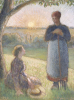 Country Women Chatting, Sunset, Eragny, 1892 by Camille Pissarro