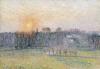 Sunset, Bazincourt. Coucher De Soleil, Bazincourt, 1892 by Camille Pissarro