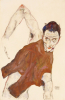 Self Portrait in a Jerkin with Right Elbow Raised, 1914 by Egon Schiele