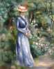 Woman In A Blue Dress Standing In The Garden At Saint-Cloud by Pierre Auguste Renoir