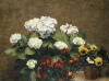 Hydrangeas, Wallflowers And Two Pots Of Pansies, 1879 by Ignace-Henri-Théodore Fantin-Latour