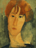 A young Woman With A Reddish Brown Collar by Amedeo Modigliani