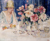 Femme A Table Chargee De Fleurs by Marcel Jefferys