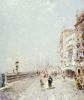 The Molo, Venice, Looking West With Figures Promenading by Franz Richard Unterberger