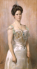 Portrait Of A Lady, Standing In In A White Satin Dress by Christian Meyer Ross