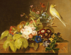 Sweet William, Forget Me Not, Convulvus And A Canary On A Ledge, 1836 by Johan Laurents Jensen