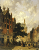 A Street Scene With Numerous Figures by Adrianus Eversen