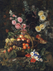 A Still Life Of Flowers And A Basket Of Fruit by Johan Laurents Jensen