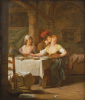 A Man Embracing A Young Woman At Table by Michel-Martin Drolling