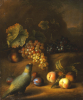 A Parrot With Grapes, Peaches And Plums In A Landscape by Tobias Stranover