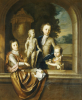 A Group Portrait Of Three Children Standing At A Niche by Barent Graat
