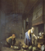 A Kitchen With A Kitchen Maid Preparing Poultry And A Fishmonger Delivering A Basket Of Fish by Hendrik Martensz Sorgh