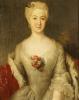 Portrait Of Anna Friederike, Furtin Von Anhalt-Kothen, Half Length In A White Dress, C. 1738 by Antoine Pesne
