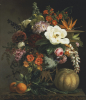 Roses, Magnolia, Peonies, Hollyhocks, Pink Liburnum And Other Flowers by Johan Laurents Jensen