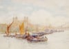 The Tower Of London From The Thames With Shipping In The Foreground by Herbert Menzies Marshall