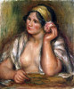 Gabrielle With A Green Necklace by Pierre Auguste Renoir