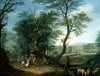 An Extensive Wooded Landscape With A Horse by Jan Griffier Sen