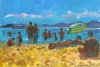 Beach at Cassis with Green Umbrella by Anne Rea