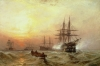 Man-o'-War firing a salute at sunset by Claude Stanfield Moore