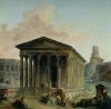 The Maison Carree with the Amphitheatre by Hubert Robert