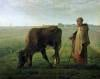 Woman Grazing her Cow 1858 by Jean Francois Millet